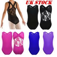 UK Girls Ballet Dance Sleeveless Leotards Lace Back Gymnastics Bodysuit Costumes