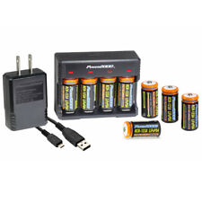 Power2000 Rechargeable CR-123A LiFePO4 Battery & Charger Kit with USB Adapter