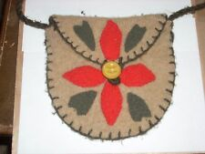 "Handmade Tan Red Flower Design Felted Wool  Pouch Tote 22"" Strap Handbag  Purse"