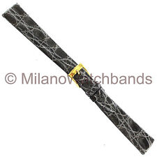 14mm Band-It Genuine Crocodile Gray Flat Unstitched Ladies Watch Band Italy