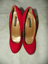 DELICIOUS FAUX SUEDE PLATFORM STILLETOS HIGH HEEL SHOES RED WOMENS SIZE 8