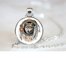 Dream Catcher Wolf PENDANT NECKLACE Chain Glass Tibet Silver Jewellery