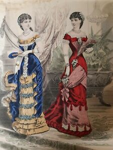 1881 superb colour plate - french fashions designed for the ladies treasury .275