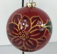 Figi Poinsettia Chrismas Ornament Reverse Painted Glass with Box