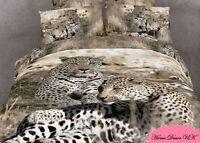 Double size Leopard Family print 3d cushion duvet cover bedding set 100% cotton