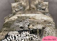 Double size Cheetah Family print 3d cushion duvet cover bedding set 100% cotton