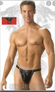 NWOT Men's CALIFORNIA MUSCLE Hammer Thong W/ Ring Pouch & Snap Cod Piece Sz S