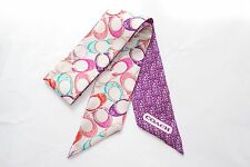 COACH 100% Silk Ponytail Scarf - Signature C Purple Multi