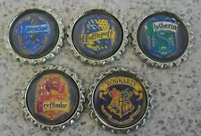 5 x Harry Potter House Symbols Flattened Bottle Caps - Magnets, Hair Bows