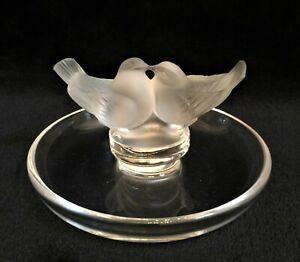 Lalique Crystal Ring Holder/Trinket Dish - Kissing Love Birds - MINT!
