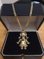18ct Gold Filled Rag Doll Pendant With Curb Chain