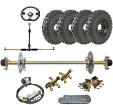 "29"" Go kart Rear Axle kit 6"" Wheels Tie Rod Steering Hub Brake Caliper ATV Buggy"