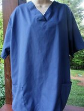 SCRUB TOP Size  L - Solid  Blue  Color Check Measurements