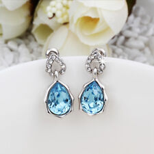 Wholesale 18K White Gold Filled Blue Cubic Zirconia Crystal Dangly Earrings