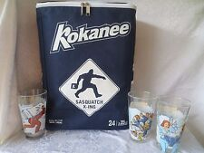 Kokanee Beer Sasquatch X-Ing 24 Can Backpack Cooler Bag +Set 3 Movie Glasses