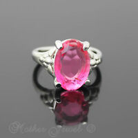 CANDY PINK TINT STERLING SILVER PLATED COCKTAIL DRESS WOMENS GIRLS RING SIZE 7 N
