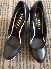 Office Oracle Black Leather Block High Heel Platform Shoes, 37/4
