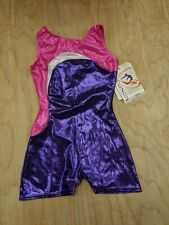 Mondor Girls Gymnastics Leotard Biketard Color Block Pink Purple and Silver