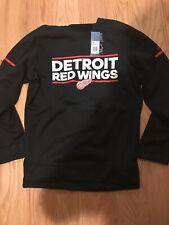 Adidas NHL Detroit Red Wings CREW SWEATSHIRT M BNwT D78614 Black Hockey