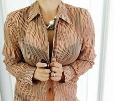 Viscose Regular Size Striped Button Down Shirts for Women