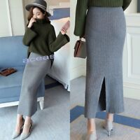 Winter Womens Knitwear High Waist Midskirt Vogue Long Slim Knitted Pencil Skirts