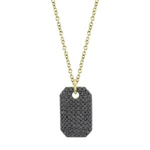 Black Diamond Dog Tag Pendant Necklace 14K Yellow Gold Natural Round Cut Womens