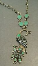 "Gorgeous LONG Vintage Inspired Peacock Pendant Necklace Antique Brass 42"" Chain"