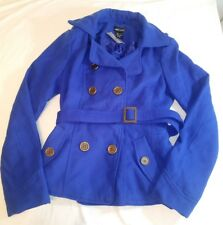 Wet Seal Womens Pea Coat Royal Cobalt Blue Size Medium NWT Button up Belt