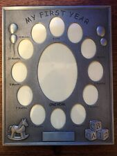 My First Year Baby Photo Frame. 12 Small Windows and 1 Large. Engraving Plaque