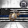 USMC Patriotic United States Marines Globe Blue Line License Plate Flag Car Tag