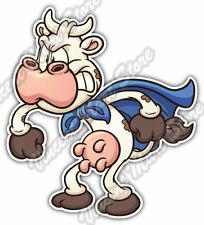 "Angry Super Cow Cute Cartoon Funny Kids Car Bumper Vinyl Sticker Decal 4""X5"""