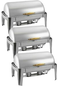 3 pc Choice Supreme 8 Qt. Full Size Roll Top GOLD Trim Chafer Professional WEB