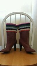 COACH MONIKA NEW BROWN LEATHER BOOTS SIZE 7 B  MADE IN ITALY $ 299