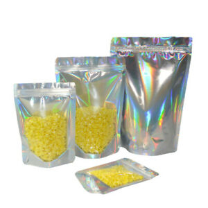 Glittery Aluminum Foil Stand Up Package Bag Mylar Resealable Lock Storage Bags