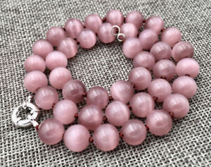 Fine 10mm Natural Light purple Cat Eye Opal Gemstone Round Beads Necklace 18''