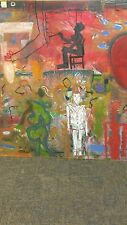 """66""""x64' JEAN MICHEL BASQUIAT INSPIRED """"THINKING SHAPES"""" ORGINAL OIL 1989 SIGNED"""