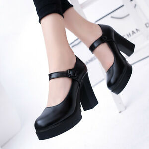 Womens Spring Fall Casual Business Block Heel Pumps Faux Leather Mary Jane Shoes