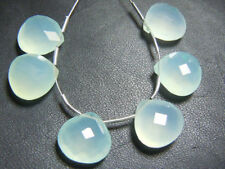 Natural Aqua Chalcedony Heart Shape briolette  Beads Side Drill 10x10mm 6 Pcs