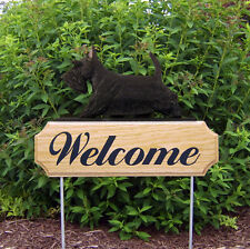 Scottish Terrier Dog Breed Oak Wood Welcome Outdoor Yard Sign Black