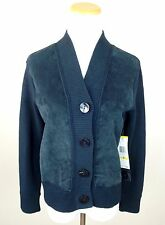 NWT JONES NEW YORK COLLECTION M Suede Leather Jacket Cardigan Sweater Green