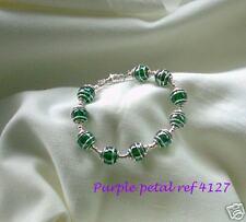 Handmade Fashion Dark Green Glass Bead - Silver Spiral Caged Bracelet