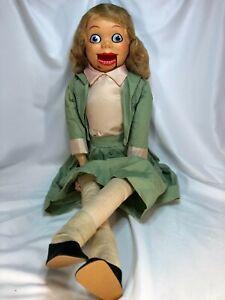 """RARE Vintage 30"""" Juro 1960s VELVET Ventriloquist Dummy Doll Puppet Female Girl"""