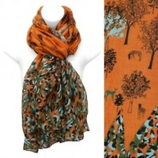 Nature Print Scarf Lightweight Orange Wrap Fashion Accessory 39 x 71 inches