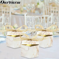 100× Wedding Favour Gift Boxes Geometric Marble Candy Box Party Favors for Guest