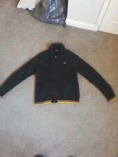 Fred Perry Lambswool Shawl Zip Up Cardigan Blue/gold Mens Medium