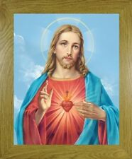 SMALL - THE SACRED HEART OF JESUS PICTURE OAK MDF FRAME OTHER FRAMES ALSO LISTED
