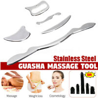 5Pc Stainless Steel Guasha Scraping Board Face Body SPA Massage Tool Health Care