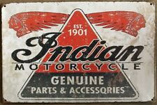 Indian Motorcycle Rustic Look Vintage Tin Signs Man Cave, Shed & Bar Sign