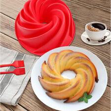 Silicone  Cake Pan Mold Non-Stick Flan Mold Trays Round Red Bakeware