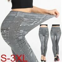 Womens Elastic Waist Skinny Stretchy Denim Jeans Leggings Jeggings Trousers gous